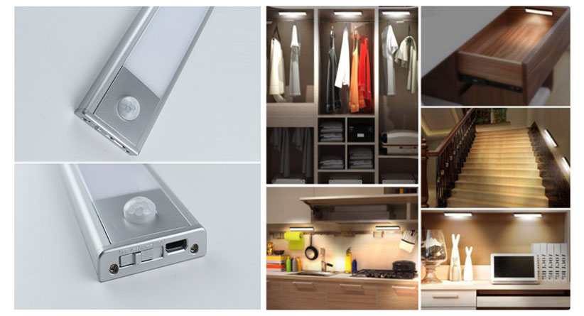Cabinet lighting with Battery-powered and with USB charging interface